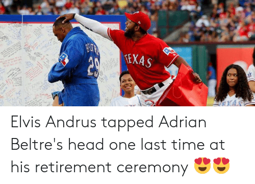 Head, Mlb, and Texas: BUTA  TEXAS Elvis Andrus tapped Adrian Beltre's head one last time at his retirement ceremony 😍😍