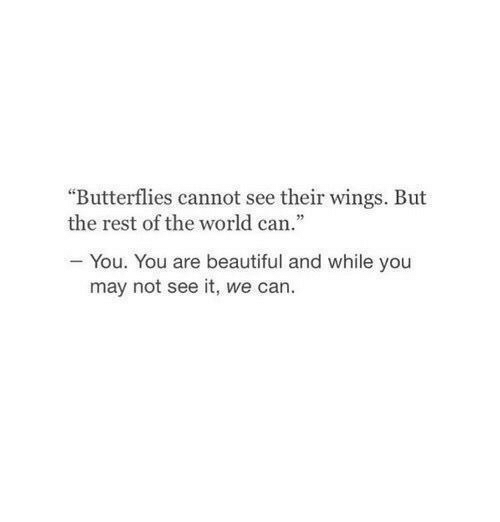 """Beautiful, Wings, and World: """"Butterflies cannot see their wings. But  the rest of the world can  05  - You. You are beautiful and while you  may not see it, we can."""