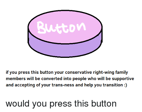 Family, Help, and Who: Button  if you press this button your  members will be converted into people who will be supportive  and accepting of your trans-ness and help you transition:)  conserv  ative right-wing family