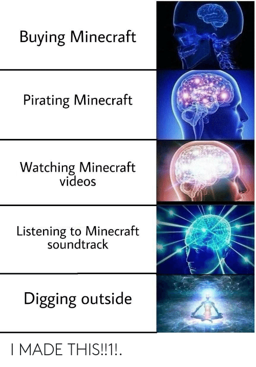 Minecraft, Videos, and Minecraft Videos: Buying Minecraft  Pirating Minecraft  Watching Minecraft  videos  Listening to Minecraft  soundtrack  Digging outside I MADE THIS!!1!.