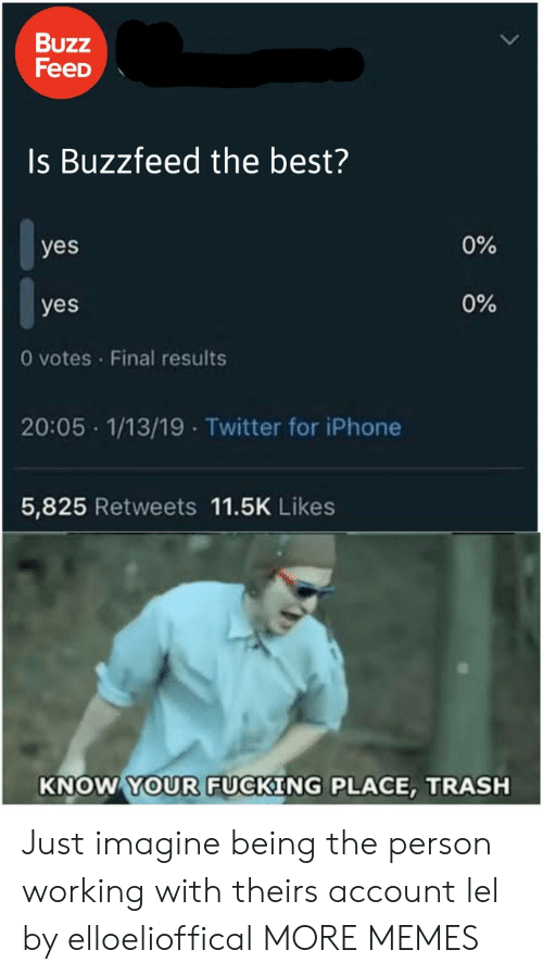 Dank, Fucking, and Iphone: Buzz  FeeD  Is Buzzfeed the best?  0%  yes  0%  yes  0 votes Final results  20:05 1/13/19 Twitter for iPhone  5,825 Retweets 11.5K Likes  KNOW YOUR FUCKING PLACE, TRASH Just imagine being the person working with theirs account lel by elloelioffical MORE MEMES