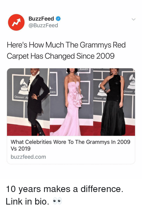 Grammys, Buzzfeed, and Link: BuzzFeed  @BuzzFeed  Here's How Much The Grammys Red  Carpet Has Changed Since 2009  AWARDS  GRAMMY  ARDS  GRAMMY A  GRAMMY Aw  ARDS  What Celebrities Wore To The Grammys In 2009  Vs 2019  buzzfeed.com 10 years makes a difference. Link in bio. 👀