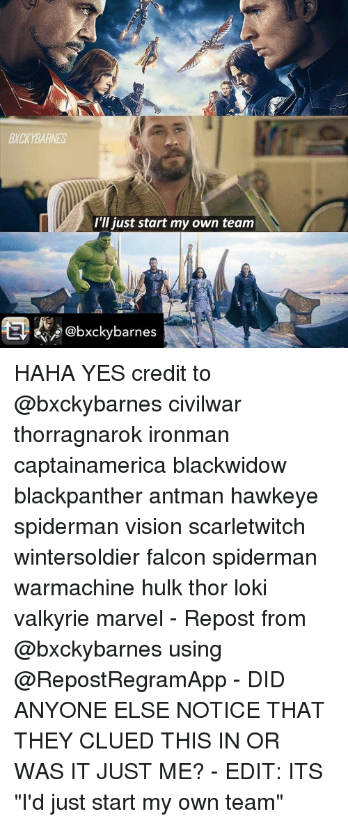 """valkyrie: BXCKYBARNES  I'll just start my own team  @bxckybarnes HAHA YES credit to @bxckybarnes civilwar thorragnarok ironman captainamerica blackwidow blackpanther antman hawkeye spiderman vision scarletwitch wintersoldier falcon spiderman warmachine hulk thor loki valkyrie marvel - Repost from @bxckybarnes using @RepostRegramApp - DID ANYONE ELSE NOTICE THAT THEY CLUED THIS IN OR WAS IT JUST ME? - EDIT: ITS """"I'd just start my own team"""""""