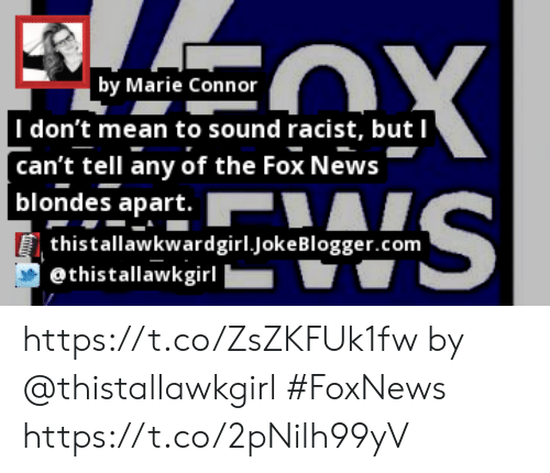 Memes, News, and Blogger: by Marie Connor  |I don't mean to sound racist, but I  can't tell any of the Fox News  | blondes apart.  thistallawkwardgirl.joke Blogger.com  @thistallawkgirl https://t.co/ZsZKFUk1fw by @thistallawkgirl #FoxNews https://t.co/2pNilh99yV