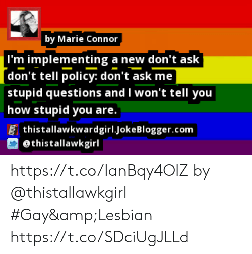 Memes, Blogger, and Lesbian: by Marie Connor  |I'm implementing a new don't ask  (don't tell policy: don't ask me  stupid questions and I won't tell you  how stupid you are.  thistallawkwardgirl.joke Blogger.com  @thistallawkgirl https://t.co/IanBqy4OlZ by @thistallawkgirl #Gay&Lesbian https://t.co/SDciUgJLLd
