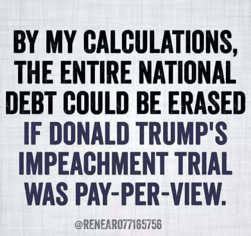 National Debt, Pay Per View, and Donald: BY MY CALCULATIONS,  THE ENTIRE NATIONAL  DEBT COULD BE ERASED  IF DONALD TRUMP'S  IMPEACHMENT TRIAL  WAS PAY-PER-VIEW  @RENEARO77165756