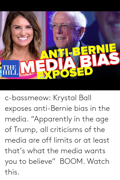 "Age: c-bassmeow:  Krystal Ball  exposes anti-Bernie bias in the media. ""Apparently in the age of Trump, all criticisms of the media are off limits or at least that's what the media wants you to believe""  BOOM. Watch this."