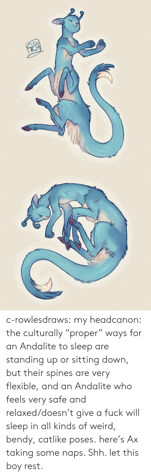 """sitting down: c-rowlesdraws: my headcanon: the culturally """"proper"""" ways for an Andalite to sleep are standing up or sitting down, but their spines are very flexible, and an Andalite who feels very safe and relaxed/doesn't give a fuck will sleep in all kinds of weird, bendy, catlike poses. here's Ax taking some naps. Shh. let this boy rest."""
