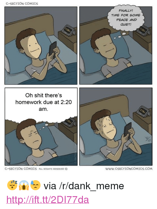 """c section: C-SECTION COMICS  FINALLY!  TIME FOR SOME  PEACE AND  QUIET!  Oh shit there's  homework due at 2:20  am.  C-SECTION COMICS  ALL RIGHTS RESERVED  wWW.cSECTIONCOMICS.COM <p>😴😱😓 via /r/dank_meme <a href=""""http://ift.tt/2DI77da"""">http://ift.tt/2DI77da</a></p>"""