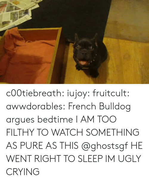 Bulldog: c00tiebreath: iujoy:   fruitcult:  awwdorables:  French Bulldog argues bedtime  I AM TOO FILTHY TO WATCH SOMETHING AS PURE AS THIS   @ghostsgf   HE WENT RIGHT TO SLEEP IM UGLY CRYING