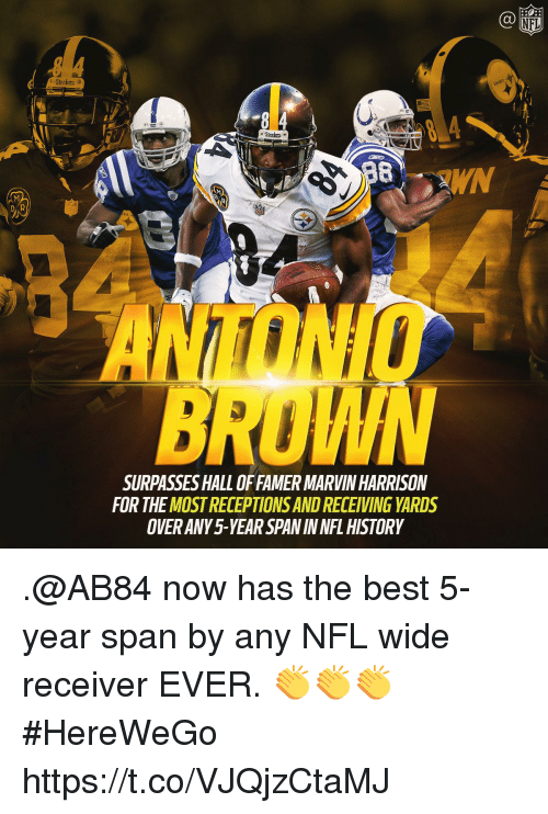 Memes, Nfl, and Best: Ca  Steelers 2  Steelers  WN  DAR  ONIO  ROWM  SURPASSES HALL OFFAMER MARVIN HARRISON  FOR THE MOST RECEPTIONS AND RECEIVING YARDS  OVER ANY5-YEAR SPAN IN NFL HISTORY .@AB84 now has the best 5-year span by any NFL wide receiver EVER. 👏👏👏  #HereWeGo https://t.co/VJQjzCtaMJ