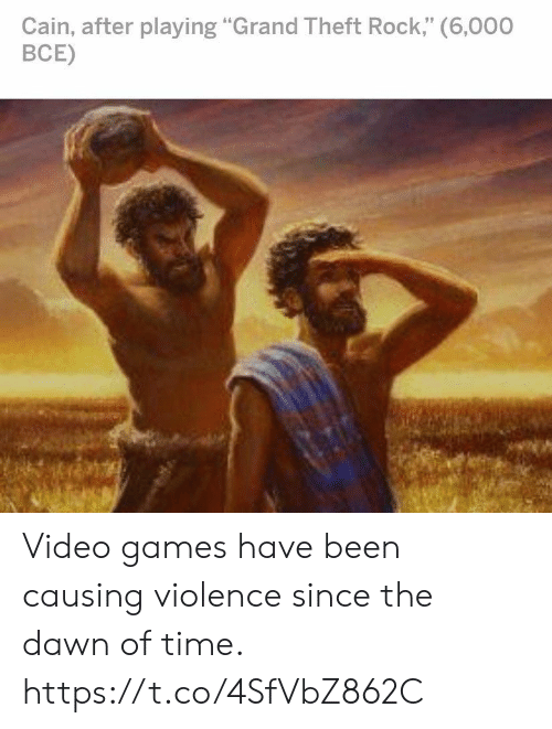 "Theft: Cain, after playing ""Grand Theft Rock,"" (6,000  ВСЕ) Video games have been causing violence since the dawn of time. https://t.co/4SfVbZ862C"