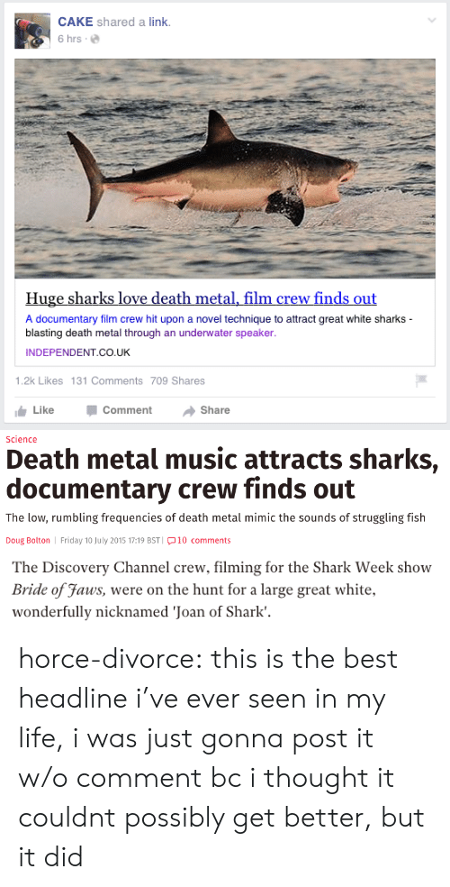 Attractiveness: CAKE shared a link.  6 hrs.  Huge sharks love death metal, film crew finds out  A documentary film crew hit upon a novel technique to attract great white sharks  blasting death metal through an underwater speaker  INDEPENDENT CO.UK  1.2k Likes 131 Comments 709 Shares  Like -Comment → Share   Science  Death metal music attracts sharks,  documentary crew finds out  The low, rumbling frequencies of death metal mimic the sounds of struggling fish  Doug Bolton Friday 10 July 2015 17:19 BST 10 comments   The Discovery Channel crew, filming for the Shark Week show  Bride of Faus, were on the hunt for a large great white.  wonderfully nicknamed 'Joan of Shark'. horce-divorce: this is the best headline i've ever seen in my life, i was just gonna post it w/o comment bc i thought it couldnt possibly get better, but it did