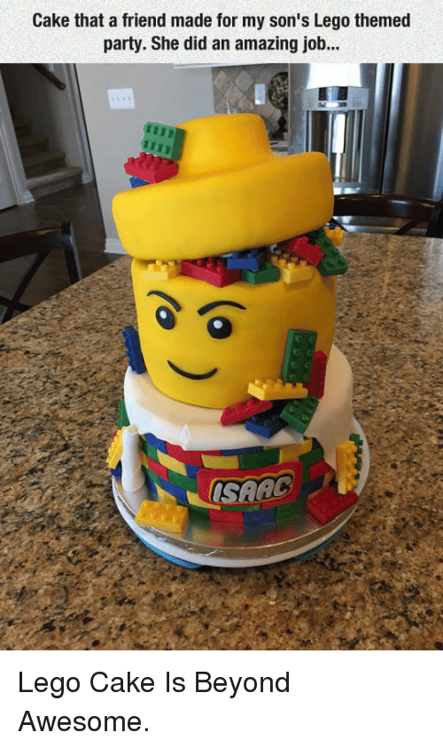 Lego, Party, and Cake: Cake that a friend made for my son's Lego themed  party. She did an amazing job.. <p>Lego Cake Is Beyond Awesome.</p>
