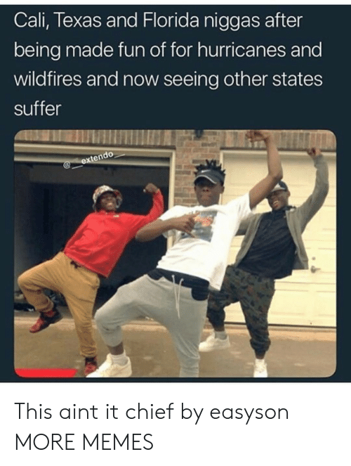 hurricanes: Cali, Texas and Florida niggas after  being made fun of for hurricanes and  wildfires and now seeing other states  suffer This aint it chief by easyson MORE MEMES