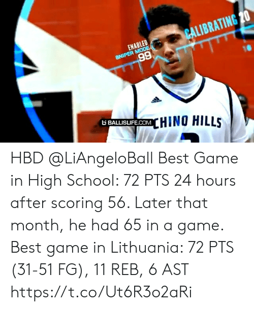 Lithuania: CALIBRATING 20  ENABLED  SNIPER MODE  66  6 BALLISIFE.COMHINO HILLS HBD @LiAngeloBall  Best Game in High School: 72 PTS 24 hours after scoring 56. Later that month, he had 65 in a game.   Best game in Lithuania: 72 PTS (31-51 FG), 11 REB, 6 AST https://t.co/Ut6R3o2aRi