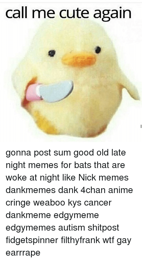 4chan, Anime, and Cute: call me cute again gonna post sum good old late night memes for bats that are woke at night like Nick memes dankmemes dank 4chan anime cringe weaboo kys cancer dankmeme edgymeme edgymemes autism shitpost fidgetspinner filthyfrank wtf gay earrrape
