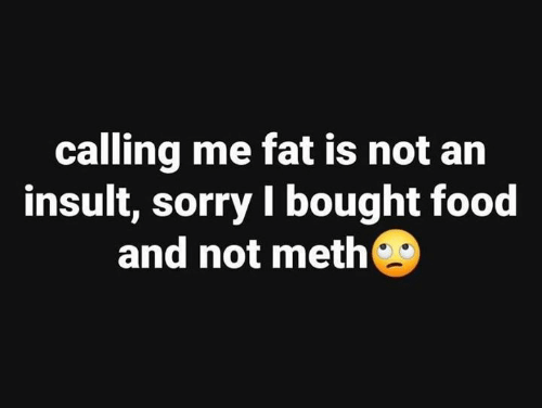 Dank, Food, and Sorry: calling me fat is not an  insult, sorry I bought food  and not meth