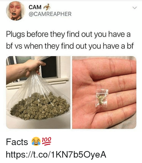 Facts, Memes, and 🤖: CAM  @CAMREAPHER  Plugs before they find out you have a  bf vs when they find out you have a bf Facts 😂💯 https://t.co/1KN7b5OyeA