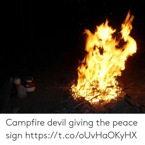 Devil, Peace, and Faces-In-Things: Campfire devil giving the peace sign https://t.co/oUvHaOKyHX