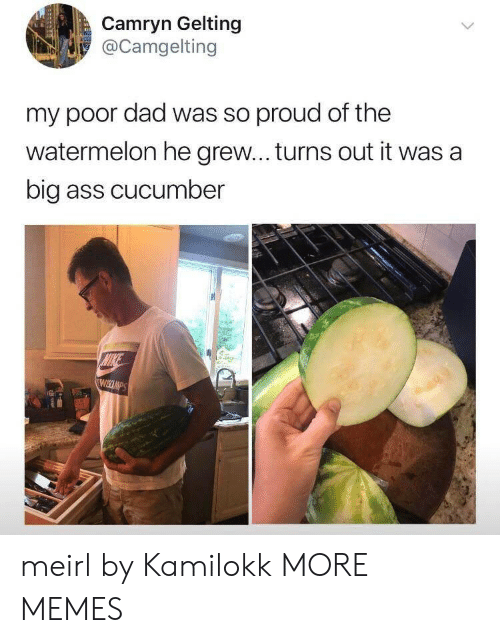 Nike: Camryn Gelting  @Camgelting  my poor dad was so proud of the  watermelon he grew... turns out it was a  big ass cucumber  NIKE  WIKCUMPS meirl by Kamilokk MORE MEMES