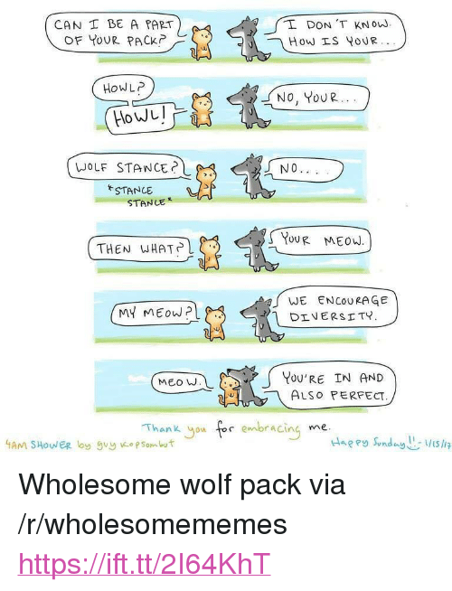 "Thank You, Wolf, and Wholesome: CAN I BE A PART  OF YOUR PACK  2  DON 'T KNo.  HoWLP  No, YOUR...  NO  WOLF STANCE?  STANCE  STANCE  YoUR MEOW.  THEN WHAT?しく.  WE ENCOURAGE  YOU'RE IN AND  ALSo PERFECT  MEO W  Thank you tor enabracing <p>Wholesome wolf pack via /r/wholesomememes <a href=""https://ift.tt/2I64KhT"">https://ift.tt/2I64KhT</a></p>"