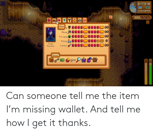 Wallet: Can someone tell me the item I'm missing wallet. And tell me how I get it thanks.