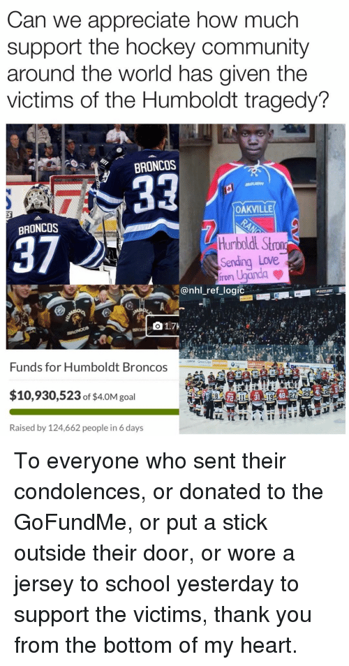 Community, Hockey, and Logic: Can we appreciate how much  support the hockey community  around the world has given the  victims of the Humboldt tragedy?  BRONCOS  OAKVILLE  BRONCOS  37  Sending Love  @nhl_ref_logic  610  Funds for Humboldt Broncos  $10,930,523 of $4.0M goal  72  31  48  Raised by 124,662 people in 6 days To everyone who sent their condolences, or donated to the GoFundMe, or put a stick outside their door, or wore a jersey to school yesterday to support the victims, thank you from the bottom of my heart.
