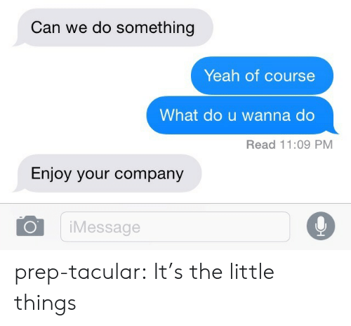 Tumblr, Yeah, and Blog: Can we do something  Yeah of course  What do u wanna do  Read 11:09 PM  Enjoy your company  iMessage prep-tacular:  It's the little things