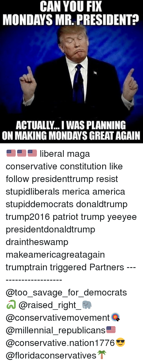America, Memes, and Mondays: CAN YOU FIX  MONDAYS MR. PRESIDENT?  ACTUALLY... WAS PLANNING  ON MAKING MONDAYS GREAT AGAIN 🇺🇸🇺🇸🇺🇸 liberal maga conservative constitution like follow presidenttrump resist stupidliberals merica america stupiddemocrats donaldtrump trump2016 patriot trump yeeyee presidentdonaldtrump draintheswamp makeamericagreatagain trumptrain triggered Partners --------------------- @too_savage_for_democrats🐍 @raised_right_🐘 @conservativemovement🎯 @millennial_republicans🇺🇸 @conservative.nation1776😎 @floridaconservatives🌴