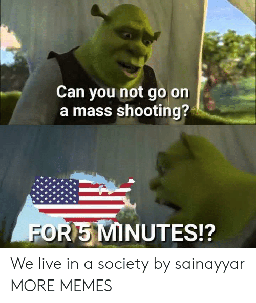 Dank, Memes, and Target: Can you not go on  a mass shooting?  FOR5 MINUTES!? We live in a society by sainayyar MORE MEMES