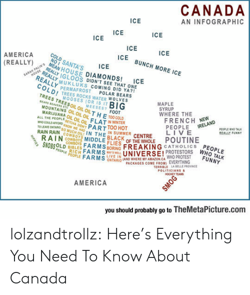 Amazon, America, and Dallas Cowboys: CANADA  AN INFOGRAPHIC  ICE  ICE  ICE  ICE  ICE  ICE  ICE BUNCH MORE ICE  AMERICA  (REALLY)  COLD SANTA'S  NOI  ICE  MEAN HOUSE DIAMONDS!  REALLY IGLOOS DIDNT SEE THAT ONE  REALLY PERMAFROST  COLDI TREES ROCKS WATER WOLVES  TREES TREESOIL OIL OIL THE T00COLD  MOUNTAINS OIL OIL OIL ELAT NWINTER  HOUSE  REALLYMUKLUKS COMING DID YA?  ICE  SARAH PALTIN'S  POLAR BEARS  MAPLE  SYRUP  WHERE THE  FRENCH NEW  PEOPLE  LIVE  POUTINE  MOOSES (OR IS IT  BIG  MEESES? FOOT  BEARS BEAVERS ETC  MARIJUANA OIL OIL OIL  ALL THE PEOPLE SETCHA DIONT PARTTOO HOT  PEOPLE WHO TALK  REALLY FUNNY  IRELAND  WHO COULD AFFORD KNOW WE HAD IN THEN SUMMER CENTRE  to LEAVE ONTARd sO MUCH OIL  RAIN RAIN COWBOT  RAIN COWBOYS MIDDLE EIES OF THE WHOLE  SNOBSOLD BIBLESFARMSBORING FREAKING CATHOLICS  BLACK  PEOPLE  WHO TALK  FUNNY  COWBOYS  RICH FARMSAYSWEL  LIVE IN  UNIVERSE! PROTESTORS  PEOPLE PEOPLE FARMS ONTARIO (AND WHERE MY AMAZON CA WHO PROTEST  TERRIBLE LABELLE PROVINCE  POLITICIANS&  HOCKEY TEAMS  PACKAGES COME FROM) EVERYTHING  AMERICA  you should probably go to TheMetaPicture.com  HIPPIES  SMOG lolzandtrollz:  Here's Everything You Need To Know About Canada