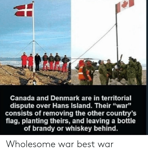 """Best, Canada, and Denmark: Canada and Denmark are in territorial  dispute over Hans Island. Their """"war""""  consists of removing the other country's  flag, planting theirs, and leaving a bottle  of brandy or whis key behind. Wholesome war best war"""