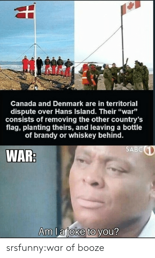 "Tumblr, Blog, and Canada: Canada and Denmark are in territorial  dispute over Hans Island. Their ""war""  consists of removing the other country's  flag, planting theirs, and leaving a bottle  of brandy or whis key behind.  SABC  WAR:  Am la joke to you? srsfunny:war of booze"