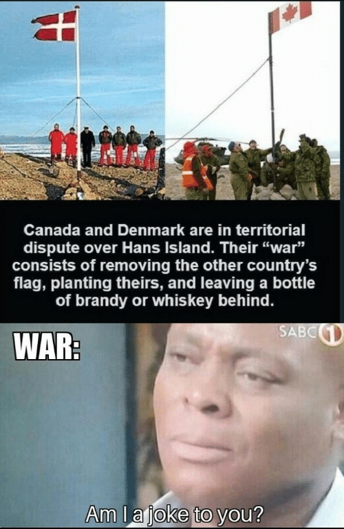 "Canada, Denmark, and Brandy: Canada and Denmark are in territorial  dispute over Hans Island. Their ""war""  consists of removing the other country's  flag, planting theirs, and leaving a bottle  of brandy or whis key behind.  SABC  WAR:  Am lajoke to you?"