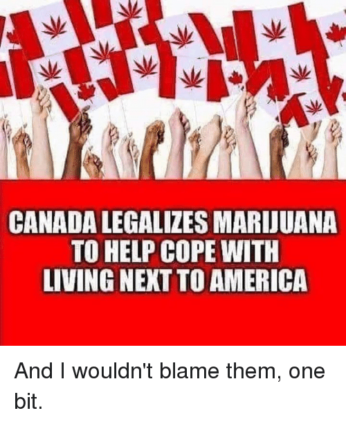 America, Memes, and Canada: CANADA LEGALIZES MARDUANA  TO HELP COPE WITH  LIVING NEXT TO AMERICA And I wouldn't blame them, one bit.