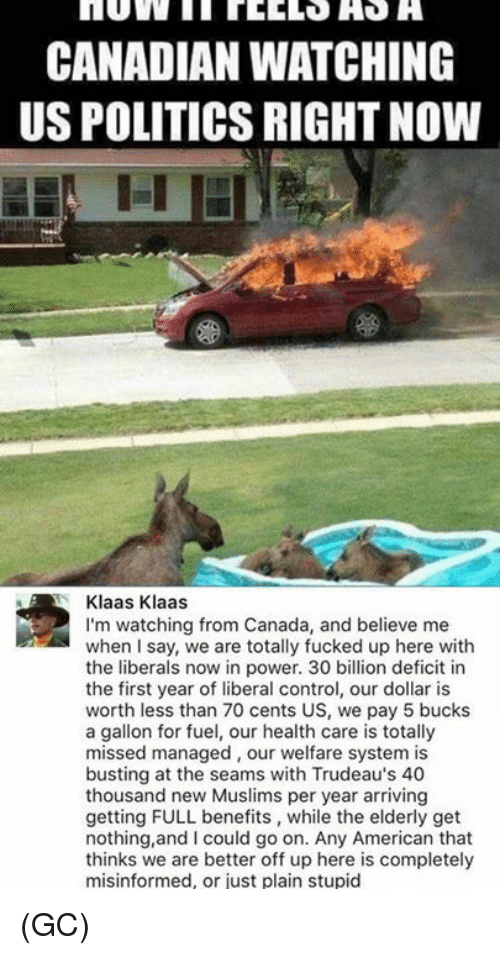 Memes, Politics, and Control: CANADIAN WATCHING  US POLITICS RIGHT NOW  Klaas Klaas  I'm watching from Canada, and believe me  when I say, we are totally fucked up here with  the liberals now in power. 30 billion deficit in  the first year of liberal control, our dollar is  worth less than 70 cents US, we pay 5 bucks  a gallon for fuel, our health care is totally  missed managed, our welfare system is  busting at the seams with Trudeau's 40  thousand new Muslims per year arriving  getting FULL benefits, while the elderly get  nothing,and I could go on. Any American that  thinks we are better off up here is completely  misinformed, or just plain stupid (GC)