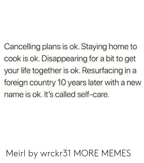 Staying Home: Cancelling plans is ok. Staying home to  cook is ok. Disappearing for a bit to get  your life together is ok. Resurfacing in a  foreign country 10 years later with a new  name is ok. It's called self-care. Meirl by wrckr31 MORE MEMES