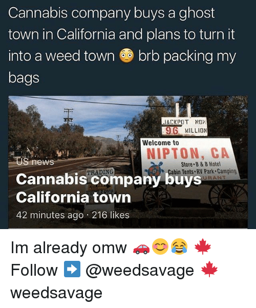 Memes, News, and Weed: Cannabis company buys a ghost  town in California and plans to turn it  into a weed town ㊥ brb packing my  bags  JACKPOT  96 MILLION  Welcome to  NIPTON, CA  US news  Cannabis company buys  California town  42 minutes ago 216 likes  Store B & B Hotel  Cabin Tents RV Park Camping  TRADING  URANT Im already omw 🚗😊😂 🍁Follow ➡ @weedsavage 🍁 weedsavage