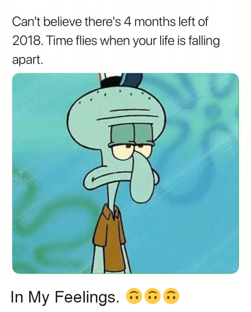 Life, Time, and Dank Memes: Can't believe there's 4 months left of  2018. Time flies when your life is falling  apart. In My Feelings. 🙃🙃🙃