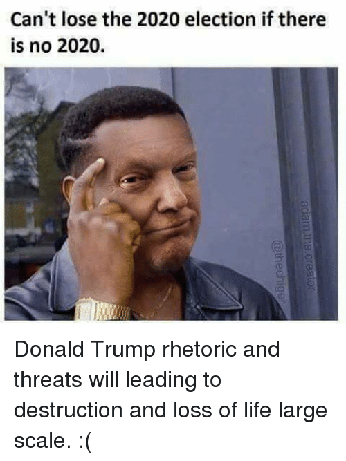 Scaling: Can't lose the 2020 election if there  is no 2020. Donald Trump rhetoric and threats will leading to destruction and loss of life large scale. :(