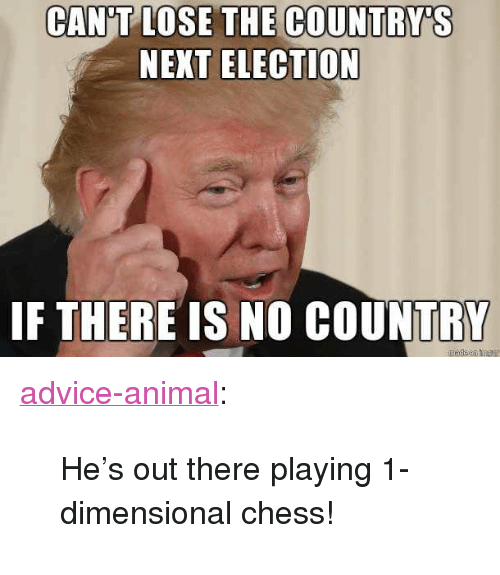 "Dimensional Chess: CAN'T LOSE THE COUNTRY'S  NEXT ELECTION  IF THERE IS NO COUNTRY <p><a href=""http://advice-animal.tumblr.com/post/169277548260/hes-out-there-playing-1-dimensional-chess"" class=""tumblr_blog"">advice-animal</a>:</p>  <blockquote><p>He's out there playing 1-dimensional chess!</p></blockquote>"