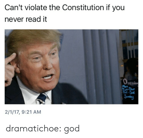 God, Target, and Tumblr: Can't violate the Constitution if you  never read it  0  perin  ri  2/1/17, 9:21 AM dramatichoe: god