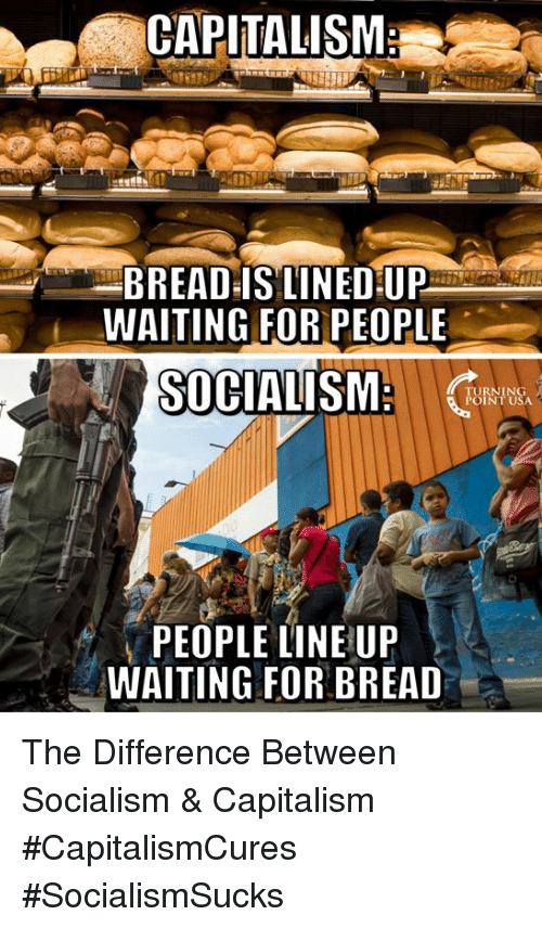Memes, Capitalism, and Socialism: CAPITALISM  BREAD-IS LINED UP  WAITING FOR PEOPLE  SOCIALISM  TURNING  POINT USA  PEOPLE LINE UP  WAITING FOR BREAD The Difference Between Socialism & Capitalism #CapitalismCures #SocialismSucks
