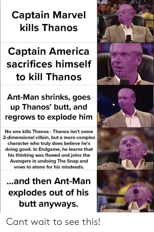America, Butt, and Complex: Captain Marvel  kills Thanos  Captain America  sacrifices himself  to kill Thanos  Ant-Man shrinks, goes  up Thanos' butt, and  regrows to explode him  No one kills Thanos Thanos isn't some  2-dimensional villain, but a more complex  character who truly does believe he's  doing good. In Endgame, he learns that  his thinking was flawed and joins the  Avengers in undoing The Snap and  vows to atone for his misdeeds.  ...and then Ant-Man  explodes out of his  butt anyways. Cant wait to see this!