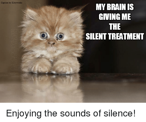 The Sound of Silence: Caption by  MY BRAIN IS  GIVING ME  THE  SILENTTREATMENT Enjoying the sounds of silence!