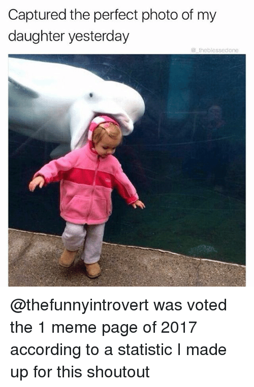 Funny, Meme, and According: Captured the perfect photo of my  daughter yesterday  @ theblessedone @thefunnyintrovert was voted the 1 meme page of 2017 according to a statistic I made up for this shoutout