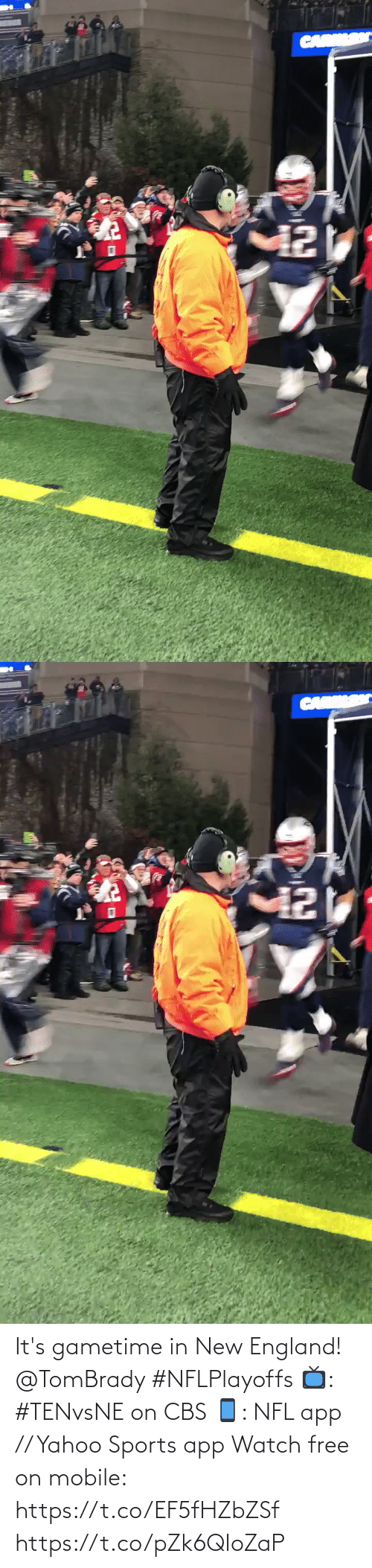 car: CAR   CARK It's gametime in New England! @TomBrady #NFLPlayoffs  📺: #TENvsNE on CBS 📱: NFL app // Yahoo Sports app Watch free on mobile: https://t.co/EF5fHZbZSf https://t.co/pZk6QIoZaP