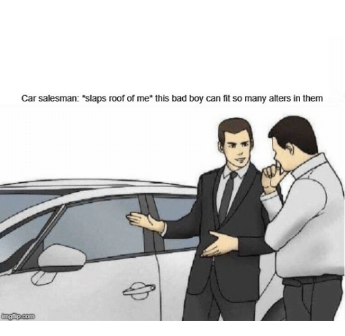 "Bad, Boy, and Car: Car salesman: ""slaps roof of me* this bad boy can fit so many alters in them"