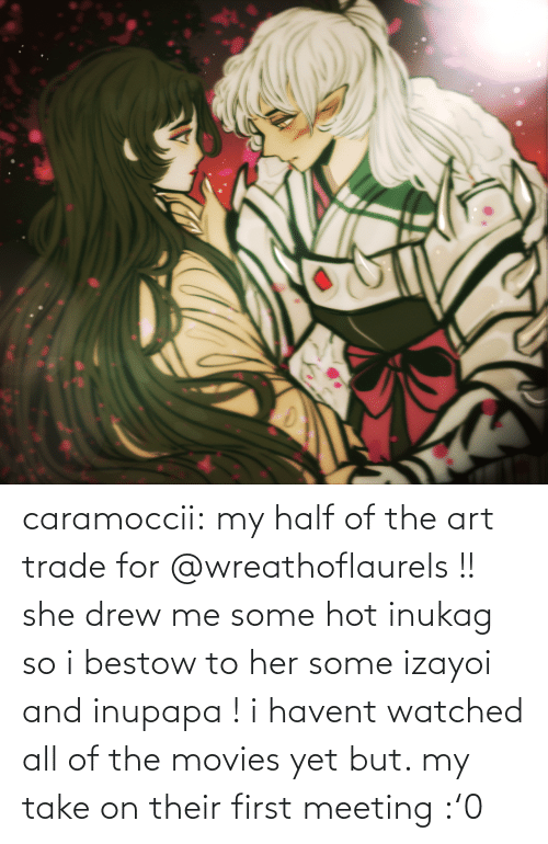 meeting: caramoccii:  my half of the art trade for @wreathoflaurels !! she drew me some hot inukag so i bestow to her some izayoi and inupapa !i havent watched all of the movies yet but. my take on their first meeting :'0
